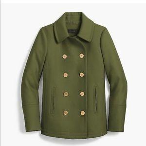 JCrew Wool Cashmere Andover Pea Coat Olive